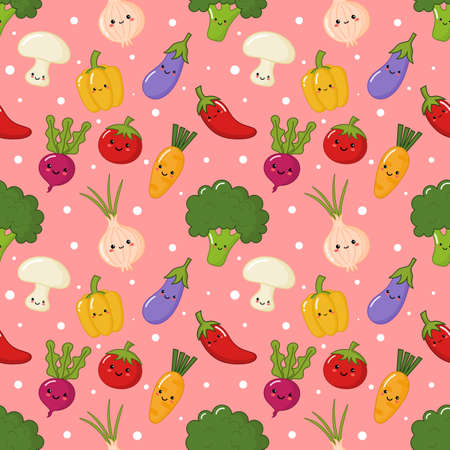 kawaii seamless pattern cute funny vegetable cartoon style isolated on pink background. illustration vector.