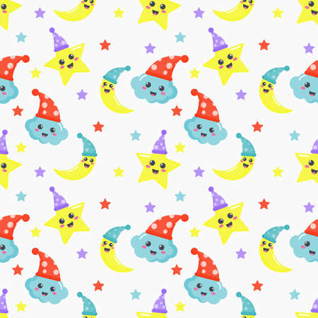 seamless pattern stars, moon and clouds. kawaii wallpaper on white background. baby cute pastel colors. vector Illustration.