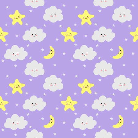 colorful seamless pattern clouds, moon and stars on purple background. vector Illustration.