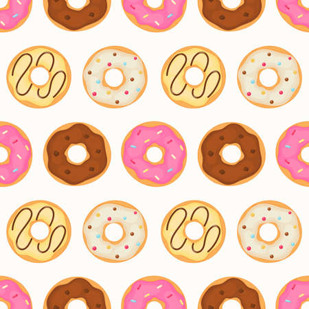 kawaii Cute Pastel donuts Sweet summer desserts Seamless pattern with different types on White Background for cafe or restaurant. illustration Vector.