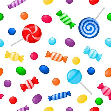 Kawaii carino caramelle dolci dolci senza cuciture con diversi tipi su sfondo bianco per bar o ristorante. illustrazione vettoriale.