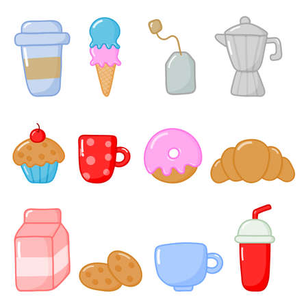 breakfast food and drinks icons set cartoon style isolated on white background. illustration vector. Ilustracja