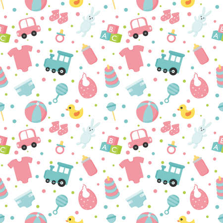 baby toys and clothes icons seamless pattern. newborn items on white background. vector Illustration.