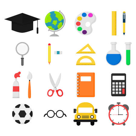 school supplies. bus, calculator, magnifier, eraser, pens, brush, scissors, ruler, notebook, globe, watercolor, glasses and others. education items isolated on white background. vector Illustration.