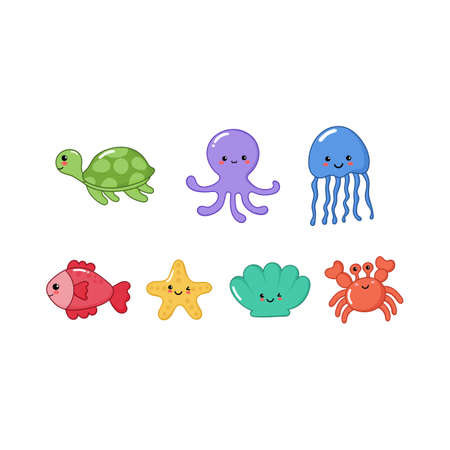 set of cute funny sea animals cartoon isolated on white background. illustration vector.