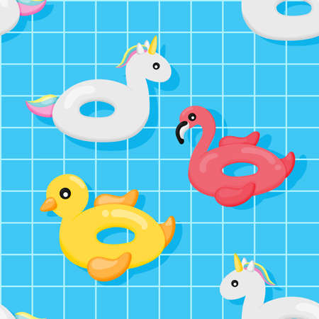colorful inflatable swimming seamless pattern. flamingos, duck and unicorn shape. summer items isolated on blue background. vector Illustration.
