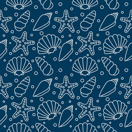 sea shells seamless pattern. tropical shells underwater. line icons isolated on blue background. vector Illustration. Vettoriali