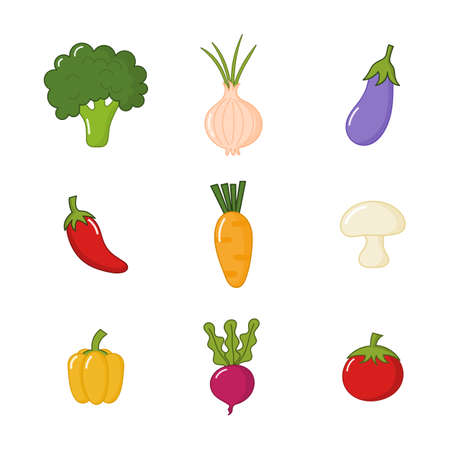 set of cute vegetable icons kawaii style isolated on white background. illustration vector.