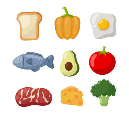 grocery food icons isolated on white background. illustration vector. Ilustracja