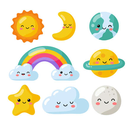 set of kawaii stars, moon, sun, rainbow and clouds isolated on white background. baby cute pastel colors. vector Illustration.