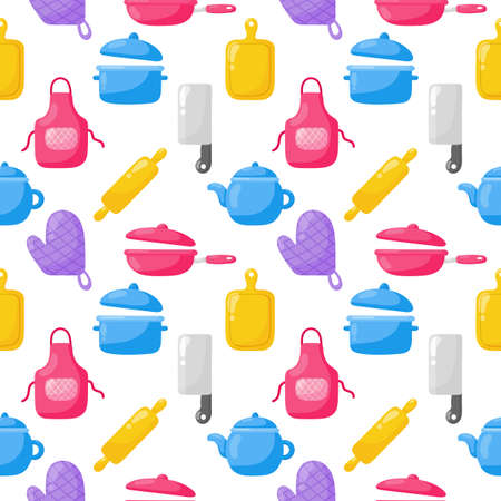 cooking foods seamless pattern and kitchen outline colorful icons set on white background. vector illustration.