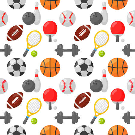 sport seamless pattern icons isolated on white background. illustration vector.