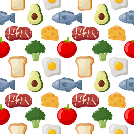 seamless pattern grocery food icons isolated on white background. illustration vector. Ilustracja