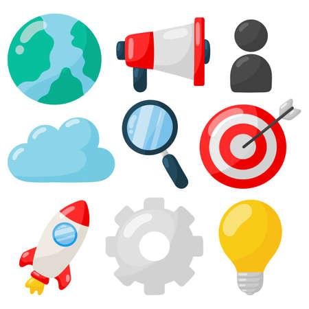 marketing. SEO icons on white background. vector Illustration.
