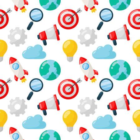 marketing seamless pattern. SEO icons on white background. vector Illustration.
