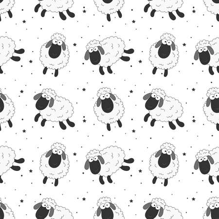 seamless sweet dreams sheep funny animal pattern on white background for fabric, textile, paper, wallpaper, wrapping or greeting card. vector illustration.