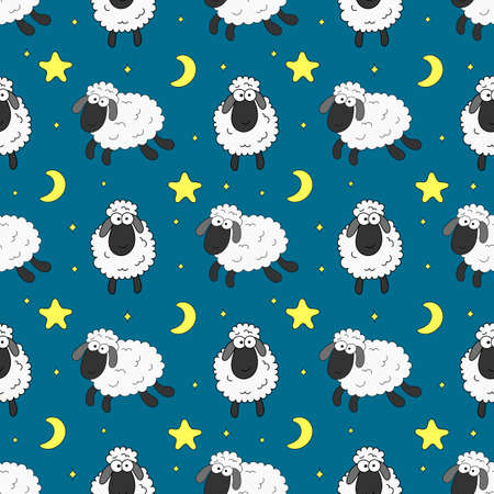 seamless sweet dreams sheep funny animal pattern on blue background for fabric, textile, paper, wallpaper, wrapping or greeting card. vector illustration.