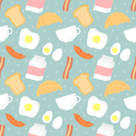 seamless pattern breakfast food and drinks isolated on blue background. illustration vector. Ilustracja