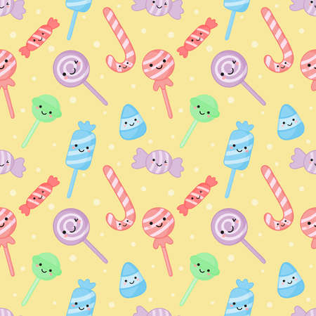 kawaii cute pastel candy sweet desserts with funny faces cartoon seamless pattern with different types on white background for cafe or restaurant. illustration vector.