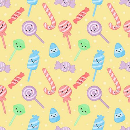 Kawaii süße pastellfarbene Süßigkeiten süße Desserts mit lustigen Gesichtern Cartoon nahtlose Muster mit verschiedenen Typen auf weißem Hintergrund für Café oder Restaurant. Abbildung Vektor.