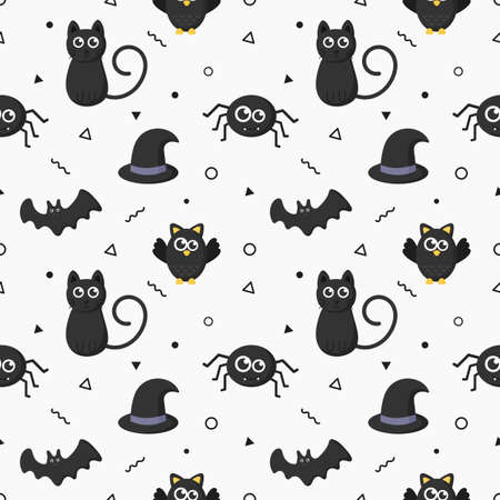 seamless pattern happy halloween icons isolated on white background. vector Illustration. Archivio Fotografico - 134432549