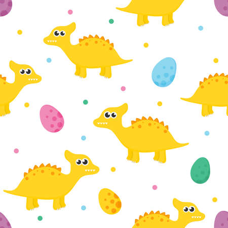 seamless pattern with cartoon cute dinosaur and eggs for kids. animal on white background. vector illustration.