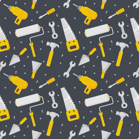 repair work tool seamless pattern cartoon style isolated on black background. illustration vector.