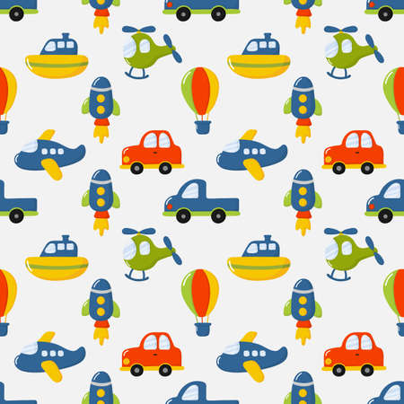 seamless pattern cartoon transport toys. cars, boat, helicopter, rocket, balloon and plane. kawaii style isolated on white background. illustration vector. Ilustración de vector