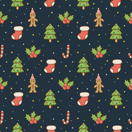 christmas characters seamless pattern on blue background. vector Illustration.