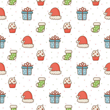 christmas icons seamless pattern on white background. vector Illustration.