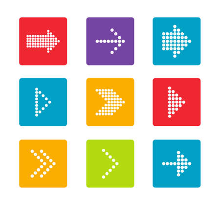 colorful arrows icons set Isolated on white background. vector illustration.