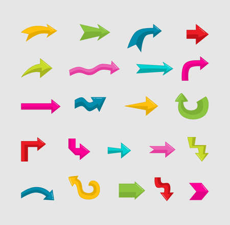 colorful arrow icons set Isolated on white background. vector illustration.