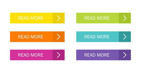 Leer más conjunto de botones de colores con iconos Web aislado sobre fondo blanco. Ilustración de vector.