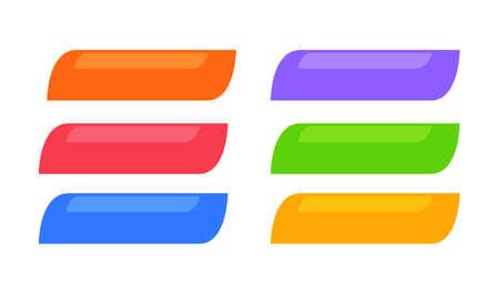 Set di pulsanti web colorati. Isolato su sfondo bianco. Illustrazione di vettore.