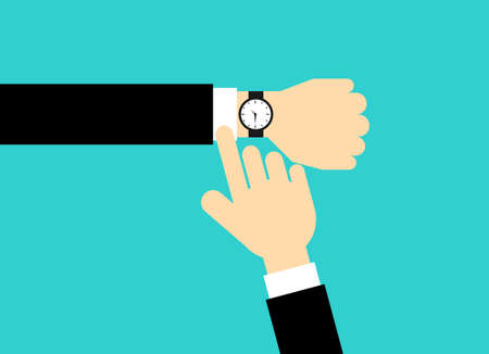 businessman looking watch on hand. time management concept. Isolated on blue background. Vector Illustration.