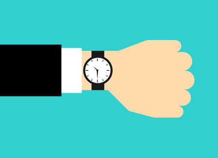 businessman looking watch on hand. time management concept. Isolated on blue background. Vector Illustration. Stok Fotoğraf - 134716693