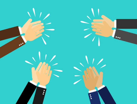 businessman hands clapping. people applaud hands Isolated on blue background. vector Illustration. Stok Fotoğraf - 134716700