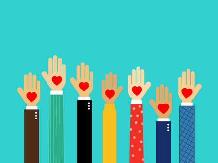 hands with hearts. volunteer. hands gift heart Isolated on blue background. Vector Illustration. Çizim