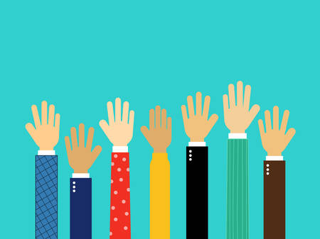 raised hands. Volunteer concept Isolated on blue background. Vector Illustration.