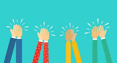 people hands clapping. human applaud hands Isolated on blue background. vector Illustration. Stok Fotoğraf - 134716727