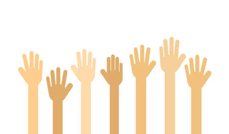 raised hands. Volunteer concept Isolated on white background. Vector Illustration. Stok Fotoğraf - 134716729