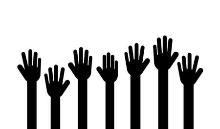 raised hands. Volunteer concept Isolated on white background. Vector Illustration. Stok Fotoğraf - 134716726