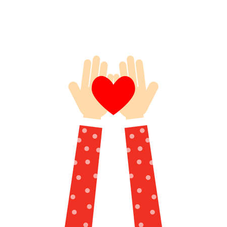hands with heart. volunteer. hands gift heart Isolated on white background. vector Illustration. Çizim
