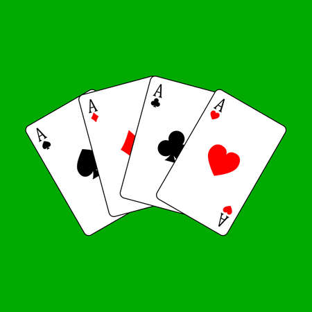set four aces playing cards suits. winning poker hand Isolated on white background. vector illustration.