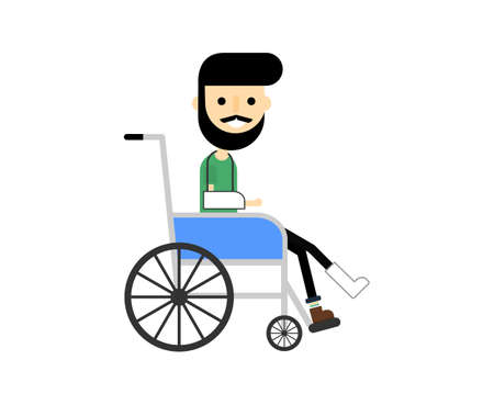 Man is sitting in a wheelchair Isolated on white background. sick with injuries. Cartoon character. Vector Illustration.