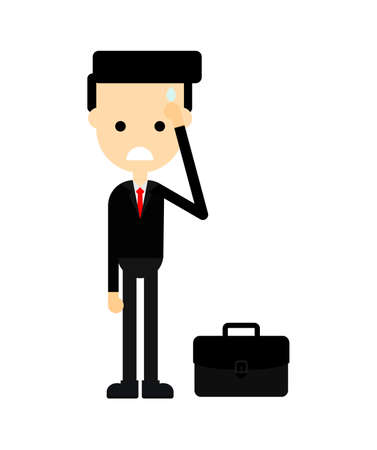 Businessman sad. no money. get fired Concept business isolated on white background. Cartoon character. vector illustration. Standard-Bild - 134716743