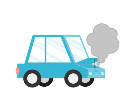 Broken car. accidents on the road and risk insured events Isolated on white background. Cartoon style. Vector Illustration.