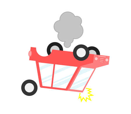 inverted car with smoke. accidents on the road and risk insured events Isolated on white background. Cartoon style. Vector Illustration.