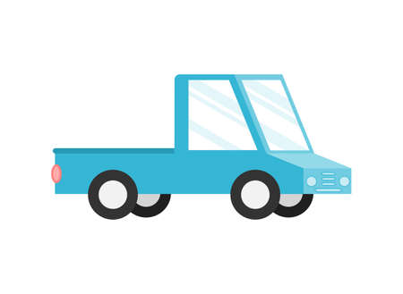 blue pickup truck Isolated on white background. Cartoon style. Vector Illustration.