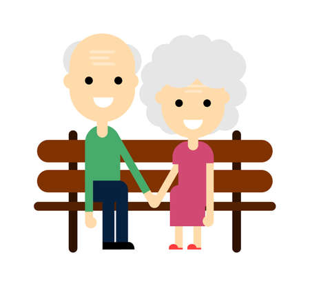 Old woman and old man on a wooden chair. Happy grandparents. Elderly couple. Grandpa and grandma isolated on white background. Cartoon character. vector illustration.